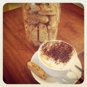 Cappucino with hazelnut biscotti
