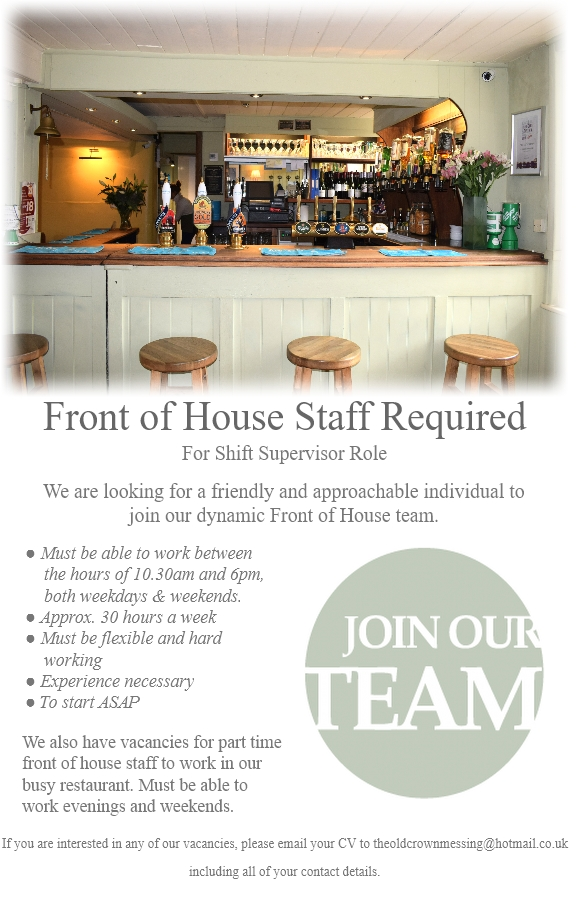 Staff Advertisement FOH Aug 2017 A5