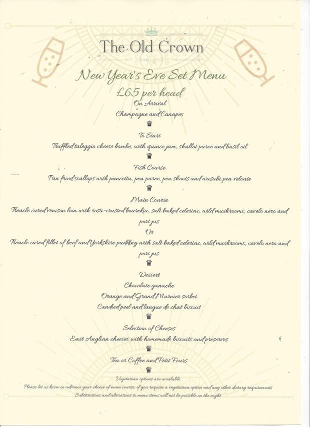 NYE Menu- website