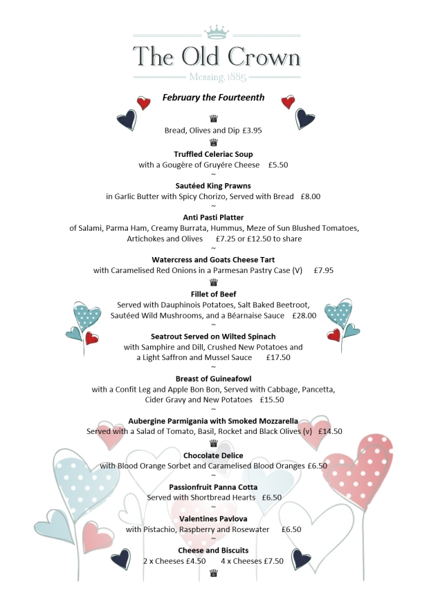 Valentines Day Menu DESIGN 2018