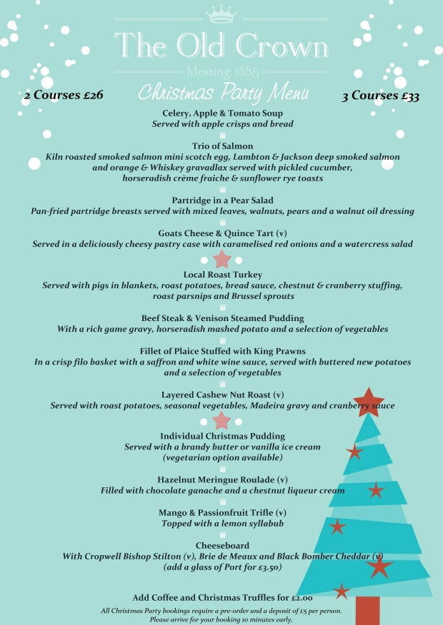 Christmas Party Menu 2018