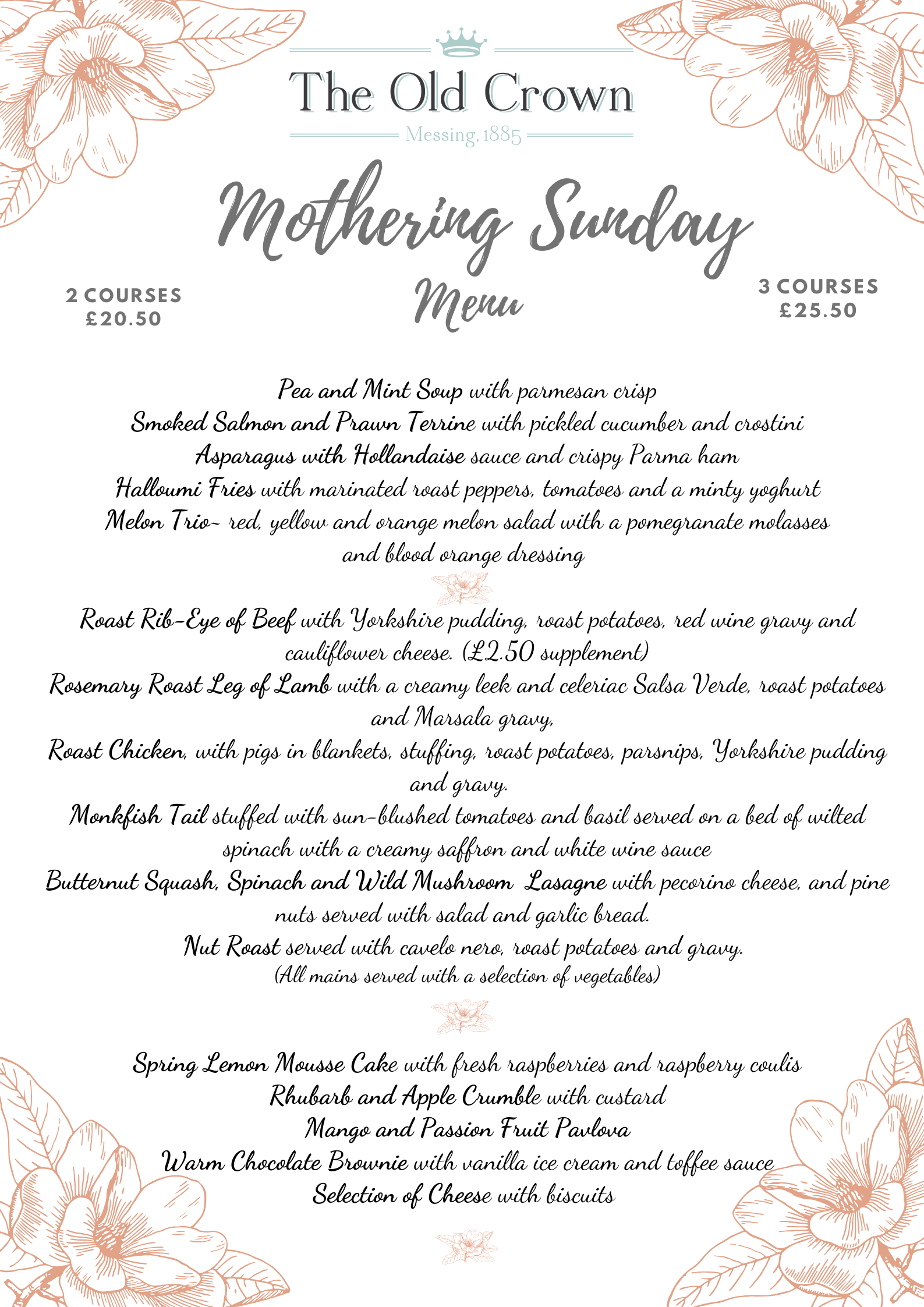 Mothering Sunday Menu 2020 png