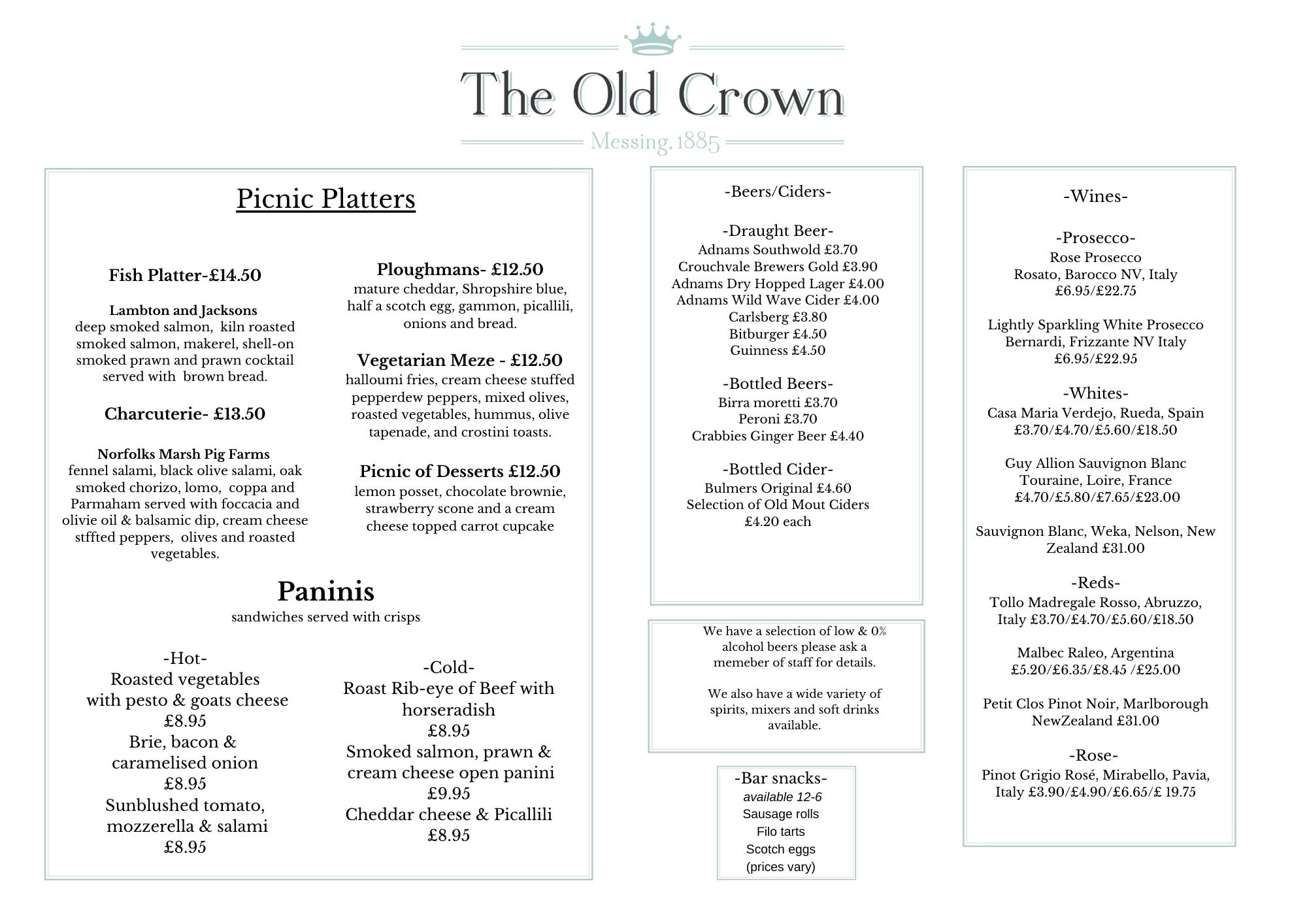Final Picnic menu