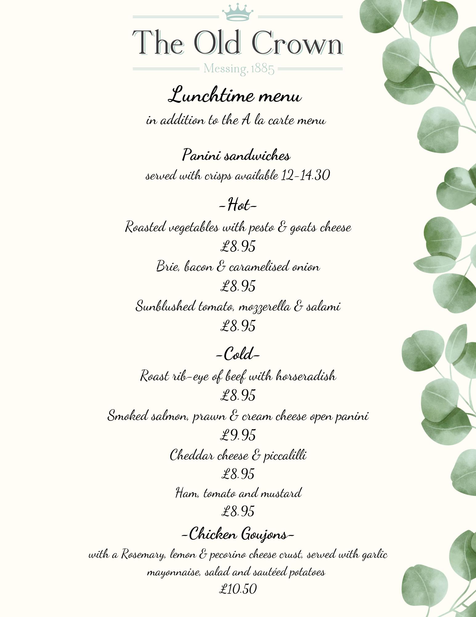 Panini menu website